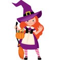 little cute girl in halloween witch costume vector image vector image