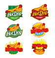logo collection set with hot dog theme vector image vector image