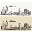 Macau skyline hand drawn vector image vector image