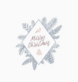 merry christmas abstract botanical card with vector image vector image