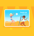 mix race women couple playing volleyball girls vector image vector image