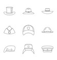 modern hat icon set outline style vector image vector image
