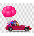 pink cabriolet car with presents and bunch of vector image
