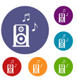 portable music speacker icons set vector image vector image