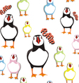 puffin bird pattern 2 vector image vector image
