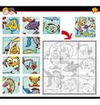 sea life jigsaw puzzles vector image vector image