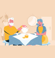 senior couple waiting for friends for tea vector image vector image