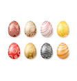 set of colored easter eggs collection isolated on vector image
