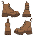 set of drawings with brown boots vector image vector image