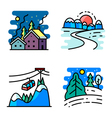 simply icons set with winter cute landscapes vector image vector image