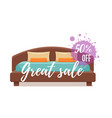 single colorful bed with pillows and blanket sale vector image