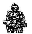 soldier standing with assault rifle graphics vector image