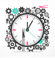 time icon with cogs big clock with man on ladder vector image vector image