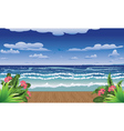 Tropical sea and jetty vector image vector image