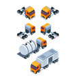 Trucks isometric pictures of various freight and