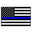 usa police blue line flag vector image vector image