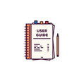 user guide book line style vector image