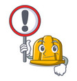 with sign construction helmet character cartoon vector image