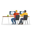 worker coworking and communicating with pc vector image vector image