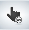 www with hand cursor in flat style vector image vector image
