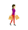 young woman with supermarket paper bag vector image vector image