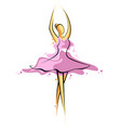 abstract drawing of a girl in pink dress artwork vector image vector image