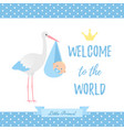 bashower boy card blue banner with stork vector image vector image