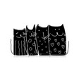 black cats sketch for your design vector image vector image