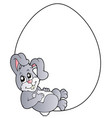 bunny in blank easter egg vector image