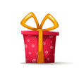cartoon gift with a bow shadow and glare vector image vector image