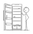 cartoon of hungry man looking in empty fridge or vector image vector image