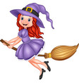 cartoon young witch flying with a broom vector image vector image