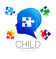 child blue logotype with few puzzle
