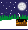 cottage in a fabulous night forest vector image vector image