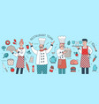 creative banner with chief cook waiter and vector image vector image