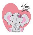 cute elephant with flower headband vector image