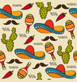 doodle seamless pattern with mexico symbols vector image vector image
