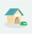 empty dog wooden house with blue roof vector image vector image