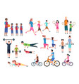 family playing sports people fitness exercising vector image