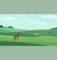 farm landscape green meadow vector image