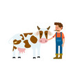 farmer with cow isolated icon vector image vector image