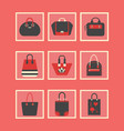 feminine red purses and hand bags icons set vector image vector image