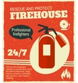 Firefighting retro poster vector image