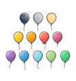 flat colorful balloons set