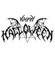 Halloween emblem in metal rock music style vector image vector image