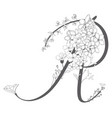 hand drawn floral r monogram and logo vector image