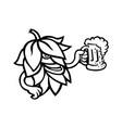 hop plant drinking a mug ale mascot black and vector image vector image