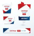 Label Ribbon Origami Style red blue color vector image vector image