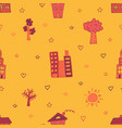orange seamless pattern with skyscrapers houses vector image vector image