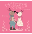 Pair of deers at Valentines day vector image vector image